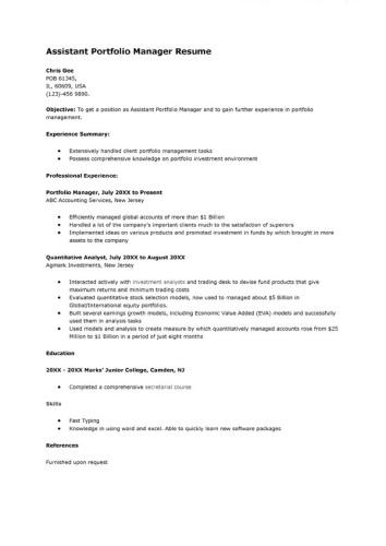 sample-assistant-portfolio-manager-resume
