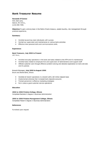 sample-bank-treasurer-resume