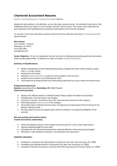 Chartered Accountant Resume Sample Mike S Blog