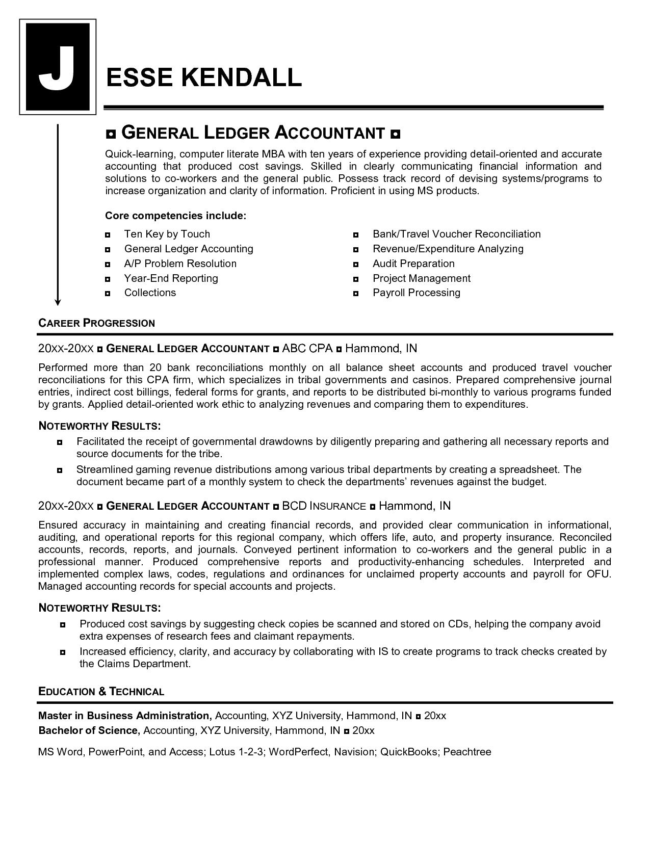General ledger resume