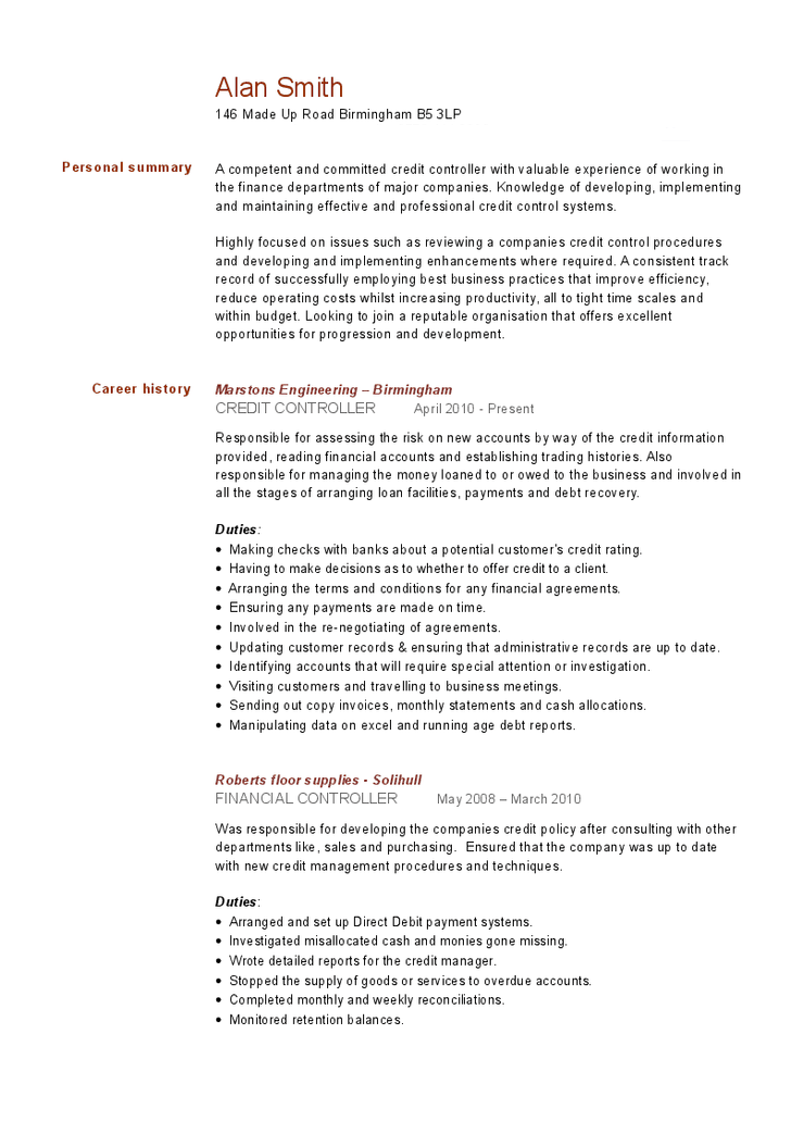 Credit Controller Resume Mikes Blog